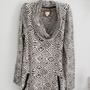 Anthropologie black and white cowl neck dress Med
